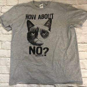 How About No Cat graphic T Shirt Gray sz. XL